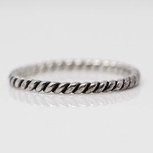 Jewelry - Sterling Silver 2mm Braided Cable Stack Band Ring